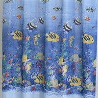 "Under the Sea Coral Life Fabric Shower Curtain Size: 70"" x 72"""