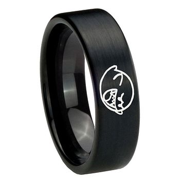 8MM Brush Black Mario Boo Ghost Pipe Cut Tungsten Carbide Laser Engraved Ring