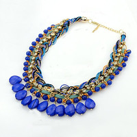 Blue Rhinestone Beads Layered Necklace