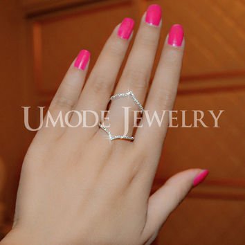 Umode New Style Fashion Bijoux Long Ring for Women Female Double Chevron Ring V Shape with Paved Cubic Zirconia Anillos UR0053B