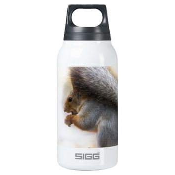 Squirrel on a bench and some nuts thermos water bottle