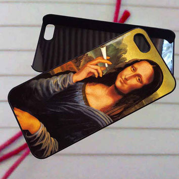 Monalisa alien smoking - case iPhone 4/4s,5,5s,5c,6,6+samsung s3,4,5,6