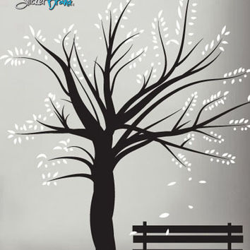 Vinyl Wall Decal Sticker Winter Tree Blossom with Bench #272
