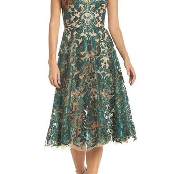 Dress the Population Blair Embellished Fit & Flare Dress | Nordstrom