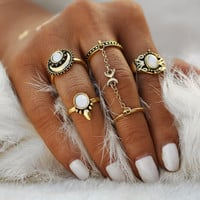 IF ME Ethnic Turkish Moon Sun Finger Rings Set Natural Opal Stone Link Chains Midi Rings Jewelry For Women Antique Gold Color