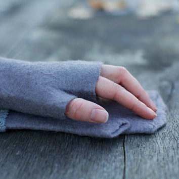 Soft and Grey organic felted warm felted fingerless in Women's size  XS S / Ready to ship