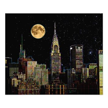 New York Skyline At Night With Full Moon Photo Print