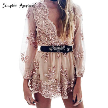 Simplee Apparel Gold sequin embroidery elegant jumpsuit romper Transparent mesh long sleeve playsuit women Deep v neck overalls