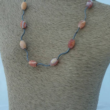 Orange necklace, fire agate necklace, wavy necklace,