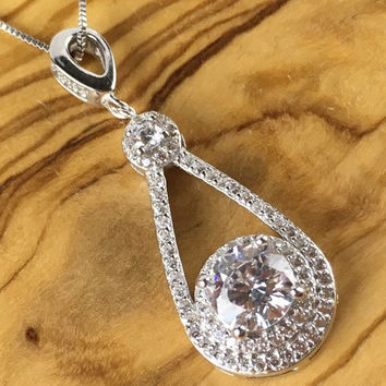White Sapphire Pear Framed Sterling Silver Drop Pendant Necklace