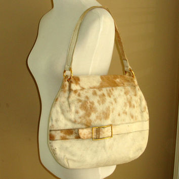 Vintage Cow Hide Purse with Bonus Matching Clutch or Insert, Cow Hair Purse, Brown White Cream Pony Hobo Handbag, Country Western Cowgirl