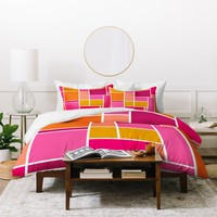 Caroline Okun Sunset Grid Duvet Cover