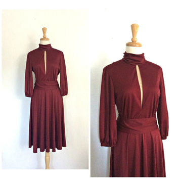 Vintage 70s Party Dress - disco dress - maroon - burgundy cocktail dress - studio 54 - midi - Lilli Diamond -  Medium