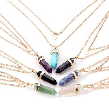 LNRRABC 1PC New Western Style Popular Women Choker Natural Stone Moon Sequins Double Layer Jewelry