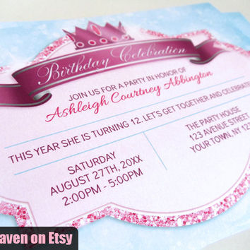 Royal Princess Birthday Invitations PRINTED