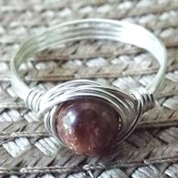 Sunstone Ring - Cute Ring - Orange Stone Ring - Sunset Ring - Unique Ring - Wire Wrapped Ring - Small Stone Ring - Homemade Jewelry