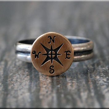Compass Ring, Bronze Sterling Silver stacking ring, Bronze Compass ring, Rustic ring, Nautical Ring, Mixed Metals ring, Nautical jewelry