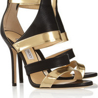 Jimmy Choo | Besso textured and mirrored-leather sandals | NET-A-PORTER.COM