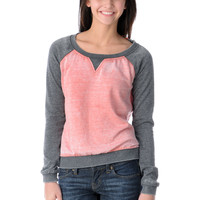 Element Girls Jetta Coral & Grey Crew Neck Sweatshirt