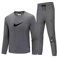 NIKE Fashion Men Casual Top Sweater Pants Trousers Set Two-Piece Sportswear Grey
