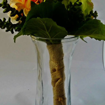Hydrangea and Succulent Bridesmaid Bouquet Burlap Twine Rustic Wedding