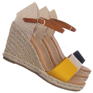 Timeoff04 Espadrille Braided Platform Wedge Sandal - Women Jute Rope Mary-Jane