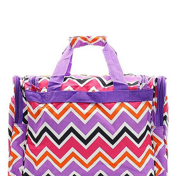 "Monogrammed Duffle Bag Personalized Chevron Multi Purple Orange Pink 19"" Travel Tote Sports Gym Overnight Luggage Embroidered Monogram Kids"