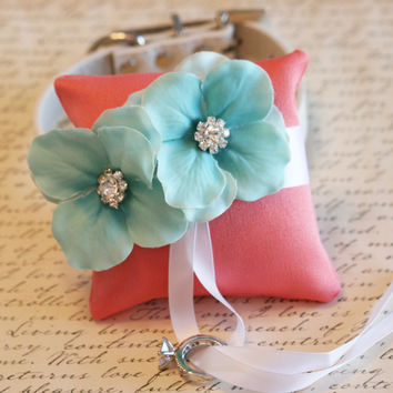 Coral and Aqua Ring Pillow, Dog Ring Bearer