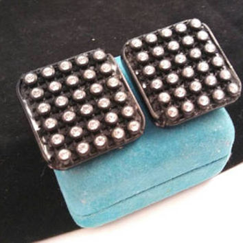 Les Bernard Signed Black & Clear Rhinestone Square Earrings - Chunky High End Rare Hard To Find Statement Jewelry