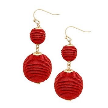 Red 2 Ball Thread Pom Pom Earrings 348863