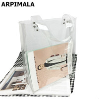 ARPIMALA Transparent Beach bags Women Big PVC Summer Tote Bag Large Clear Travel Handbags Studded Jelly Travel Shopping Bag