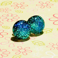 Fairy Stones in Teal dichroic fused glass post earrings
