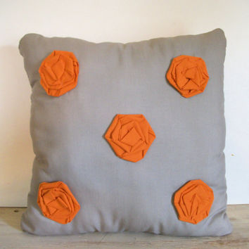 Rosette Pillow- Throw Pillow- Decorative Pillow