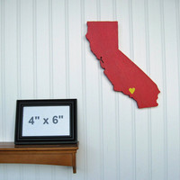 "USC Trojans ""State Heart"" wall art, handcrafted wood with official team colors"