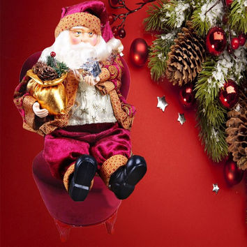 2016 NEW Top Selling High Quality 35cm Christmas Sitting Santa Claus Doll Figurine Toy Home Room Ornament Decoration Decor gift
