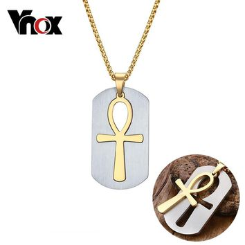 Vnox Removable Ankh Necklace Pendant Surgical Steel Life Cross Egyptian Men Jewelry Gold-Color The Key of the Nile