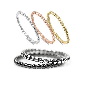 Sterling Silver Beaded Stacking Rings - Various Finishes - Rose, Yellow, Black, Antiqued, Silver