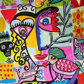 Frida Abstract Love Bird  SILBERZWEIG by SandraSilberzweigArt