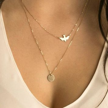 N123 Multilayer Necklaces For Women Peace Pigeon Birds Collares Minimalist Jewelry Circle Dainty Pendant Necklace Gift