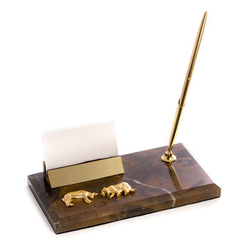 """""""Stock Market"""" Business Card Holder with Pen"""