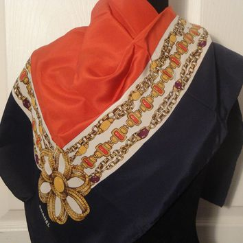 "Chanel Navy Gold Gripoix Chains Jewels 100% Silk Print Scarf 34 x 34"" Italy"