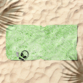 Greeney and white swirls doodles Beach Towel by Savousepate