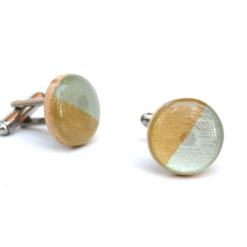 Gold and mint wood cufflinks custom cufflinks personalized wedding cufflinks 5th anniversary gift eco friendly mens accessory