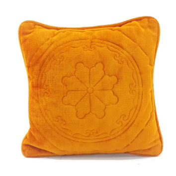 Vintage Square Throw Pillow, Orange Velveteen Cushion, Mid Century, Mandala Design, Ornate Pattern, Retro Couch, Mod Decor