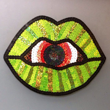 Handmade Holographic Surreal Sequin Lips Patch