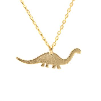 Handcrafted Brushed Metal Dinosaur Necklace