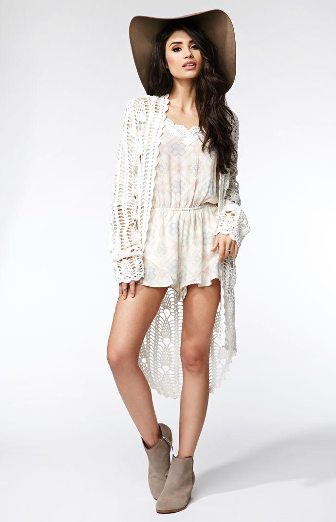 3f1319399d Kendall & Kylie Stitch Fringe Cardigan - Womens Sweater - White