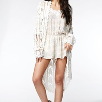 Kendall & Kylie Stitch Fringe Cardigan - Womens Sweater - White
