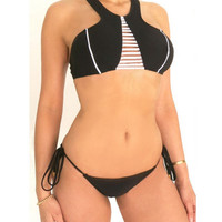 Black High Neck Bikini Set Swimwear