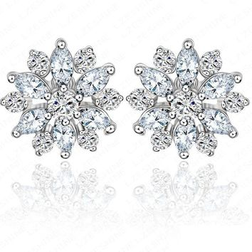 LZESHINE Fashion Bridal Jewelry Round &Marquise Cut Wedding Earrings CZ Flower Stud Earrings Pendientes Boda